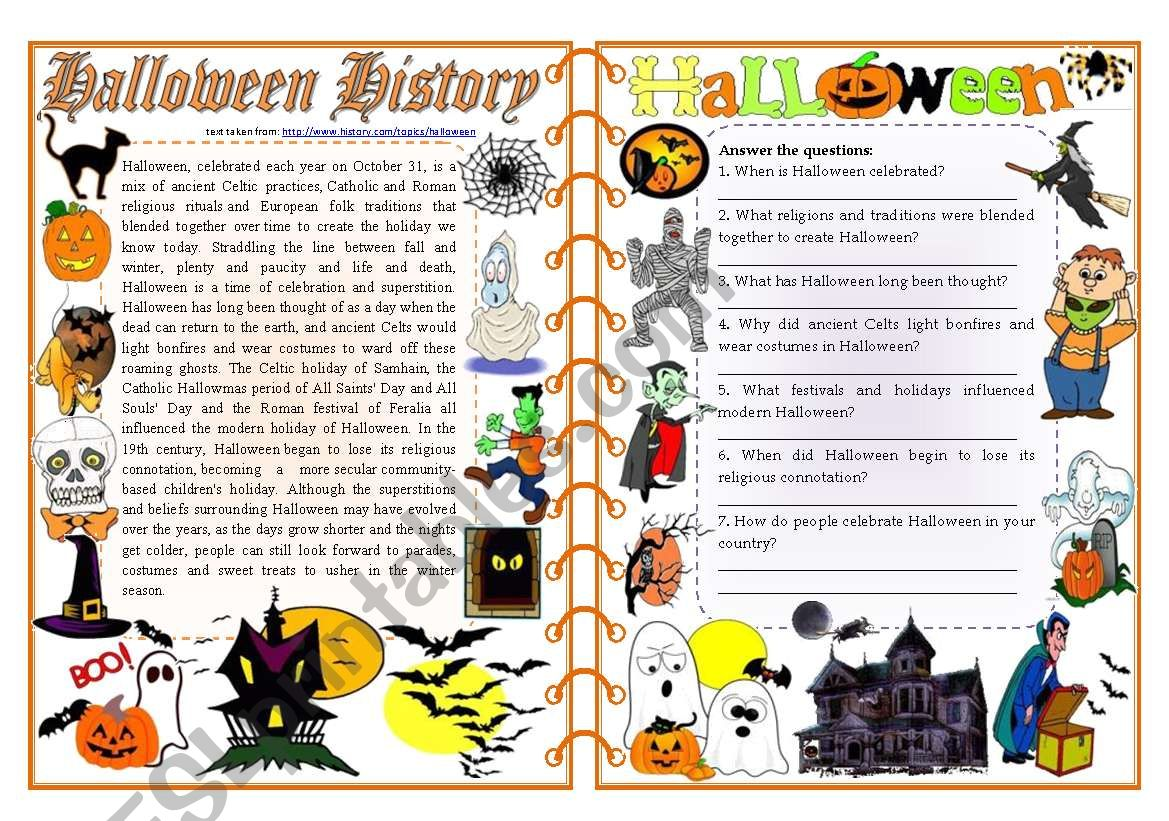 - Halloween History - Reading Comprehension, Vocabulary & Grammar [2